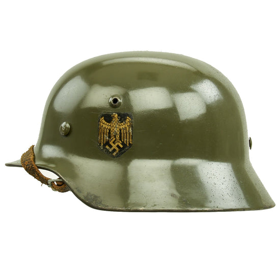 Original German WWII Army Heer M35 Single Decal Steel Helmet with Buffed Original Paint - SE62 Original Items