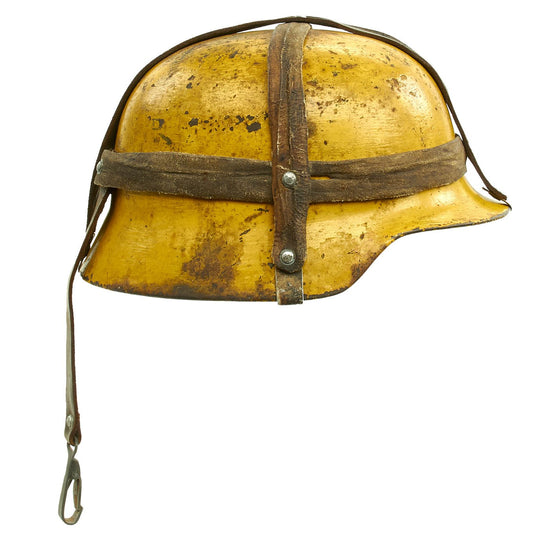 Original German WWII M35 Helmet Shell with Field Made Carry Strap and Replica Liner - marked ET66 Original Items