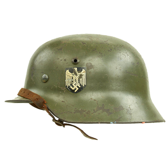 Original German WWII Army Heer M35 Double Decal Helmet with 1937 Dated Size 56cm Liner - SE64 Original Items