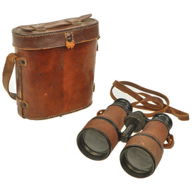 Original WWI U.S. Navy 3 Power Leather Covered Binoculars with Leather Case