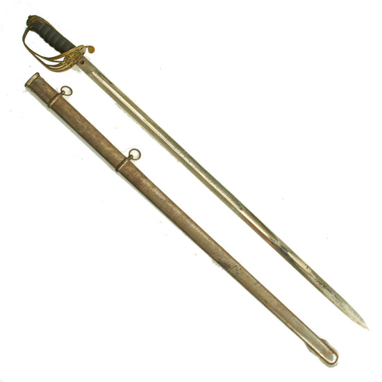 Original British Victorian P-1845 Nickel Plated Officer's Dress Sword with Steel Scabbard - VRI Marked Original Items