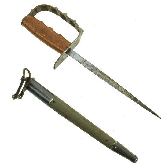 Original U.S. WWI M1917 Trench Knife by L.F. & C. dated 1917 with Jewell 1918 Scabbard Original Items