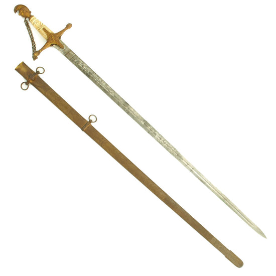 Original U.S. Militia Staff Officers Parade Sword by Ames Mfg. Co. with Bone Grip & Scabbard c. 1840-1850 Original Items