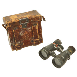 Original Imperial German WWI Fernglas 08 Binoculars by Rodenstock of München with Leather Case