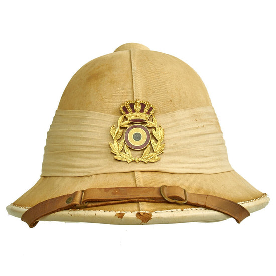 Original Belgian M1950 Colonial Service Pith Sun Helmet with Puggaree - Belgian Congo Original Items