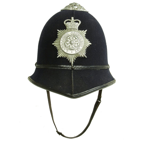 Original British Queen's Crown Rose Top Bobby Helmet from the Lancashire Constabulary Original Items