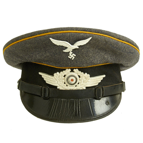 Original German WWII 1936 dated Luftwaffe Flight Branch EM-NCO Visor Cap by Gebrüder Alm - Size 55 1/2 Original Items