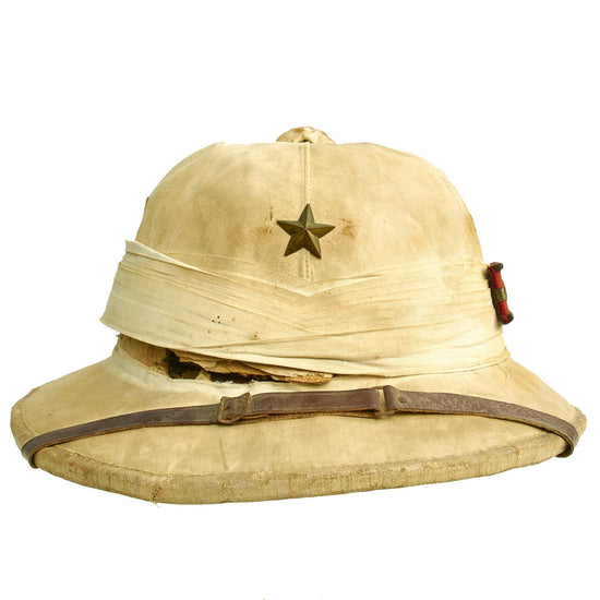 Original Chinese Made Imperial Japanese Army Damaged White Sun Pith Helmet with Lieutenant Insignia Original Items