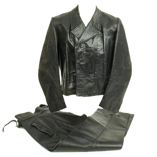 Original German WWII Kreigsmarine U-Boat Black Leather Wrap Jacket and Trouser Set Original Items
