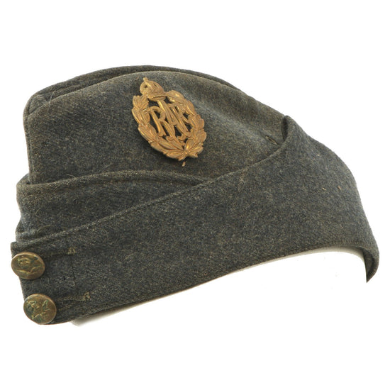Original British WWII Royal Air Force R.A.F. Wool Overseas Cap with Badge Original Items