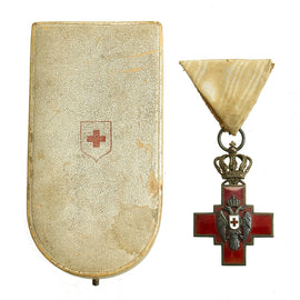 Original WWI Era Kingdom of Serbia Order of the Red Cross Medal in Presentation Case