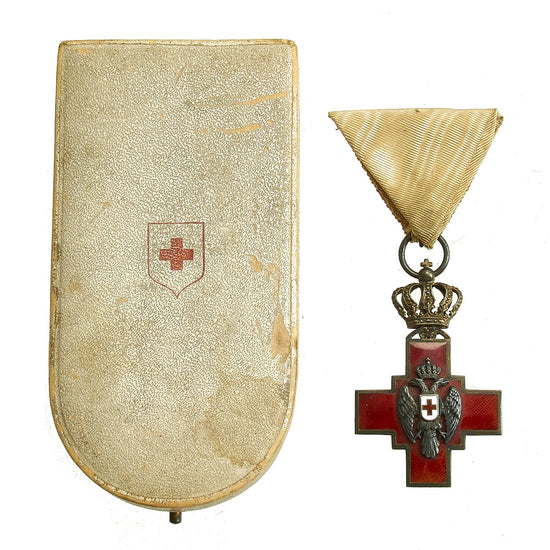 Original WWI Kingdom of Serbia Order of the Red Cross Medal in Presentation Case Original Items