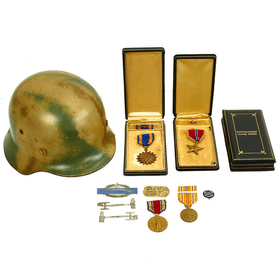 Original German WWII Identified Bring Back M35 Camouflage Helmet and Medal Grouping Original Items