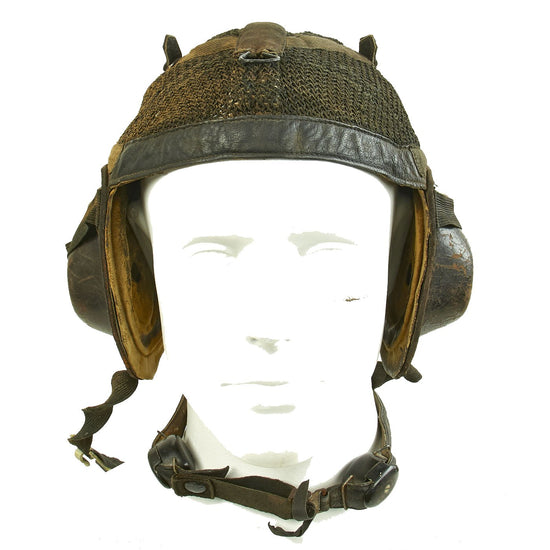 Original German WWII Luftwaffe LKpN101 Netzkopfhaube Summer Flying Helmet with Earphones & Throat Mic Original Items