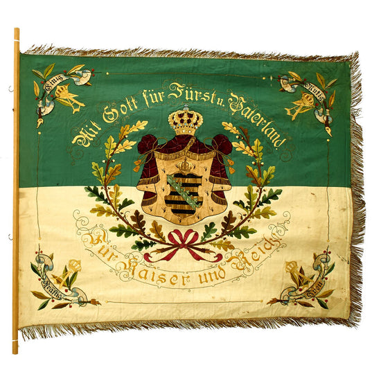 Original Imperial German Franco-Prussian War Kingdom of Saxony Veterans Flag Dated 1890-1897 Original Items