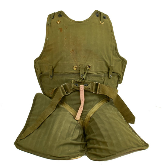 Original U.S. WWII USAAF Complete M1 Flak Vest with M5 Leg & Groin Armor for Seated Personnel Original Items