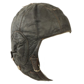 Original German WWII Luftwaffe LKpW101 Winter Leather Flying Helmet by DeTeWe - dated May 1941