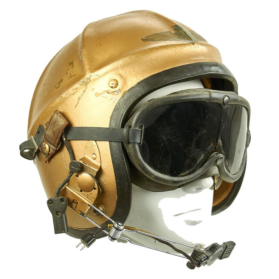 Original U.S. Navy USN 1950s Gentex H-4 Flight Helmet with Boom Mic and Googles Original Items