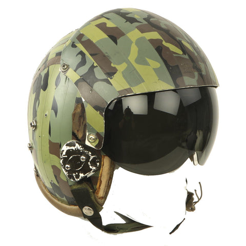 Original U.S. 1980s Camouflage HGU-26/P Flight Helmet with Dual Visor Original Items