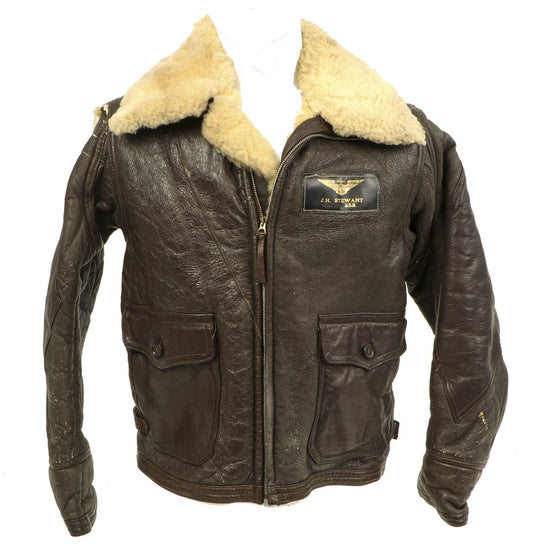 Original U.S. WWII Named Naval Aviator Sheepskin Winter Flight Jacket M-445A Original Items