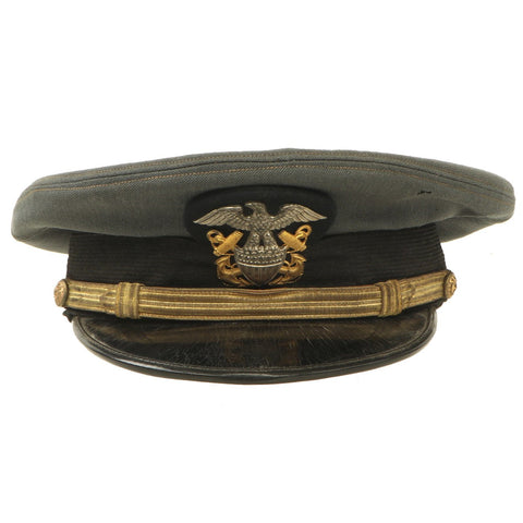 "Original U.S. WWII Naval Officer Gray ""The Commodore"" Combination Visor Cap - size 7 Original Items"
