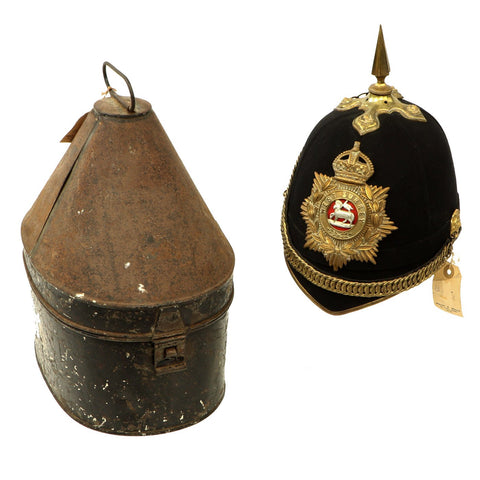 Original British Pre-WWI Queen's Royal Regiment (West Surrey) Blue Cloth Helmet with Transit Tin by Hawkes & Co Original Items