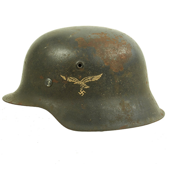 Original German WWII M42 Service Worn Single Decal Luftwaffe Helmet with Size 57 Liner - ET64 Original Items