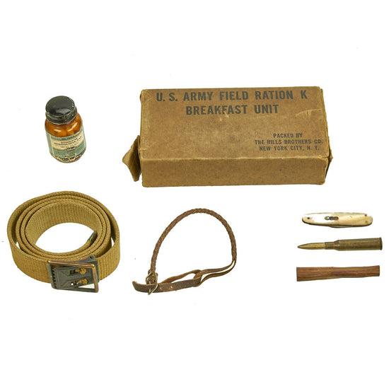 Original U.S. WWII USGI Bring Back Grouping from PFC Walter M. Heuer including K-Ration Original Items