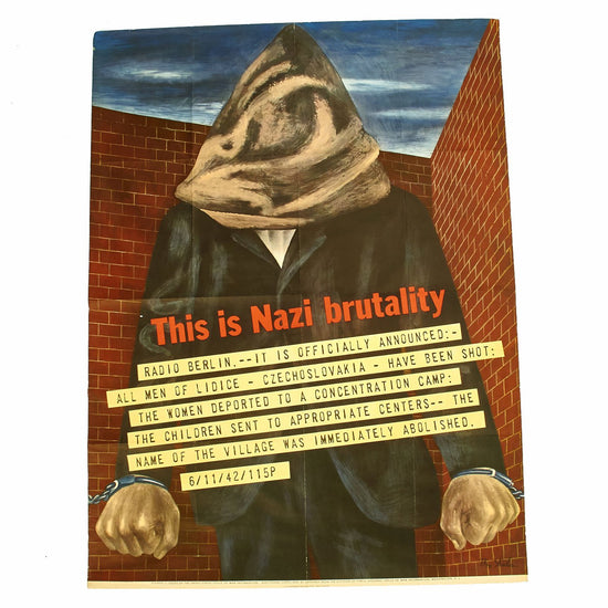 Original U.S. WWII 1942 This is Nazi Brutality OWI Propaganda Poster by Ben Shahn Original Items