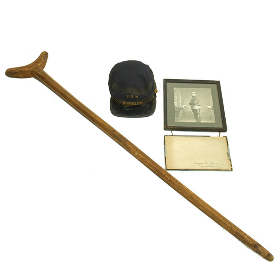 Original U.S. Civil War Federal Major General Barnum  Wounded in Action Collection - Kepi, Photo, Crutch Original Items