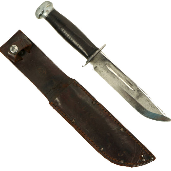 Original U.S. WWII RH PAL 36 MkII-Style Fighting Knife with Leather Belt Scabbard Original Items
