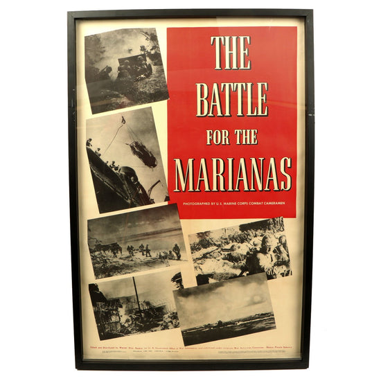 Original U.S. WWII The Battle for the Marianas 1944 Warner Brothers Framed Documentary Movie Poster Original Items