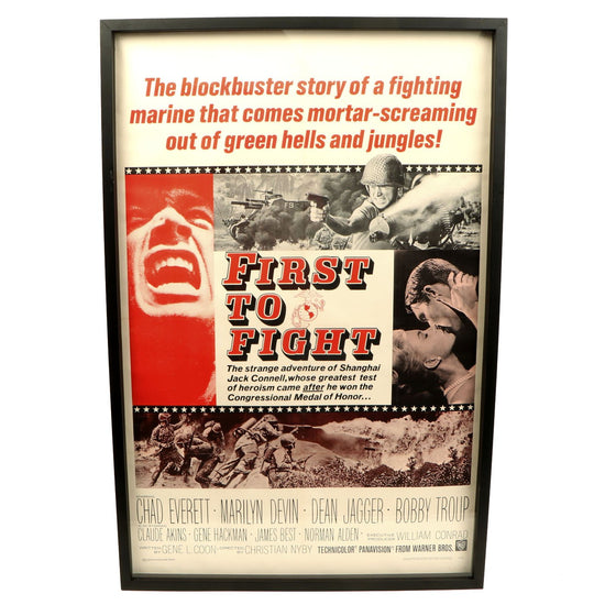 Original U.S. WWII First to Fight 1967 Warner Bros Framed Movie Poster Original Items