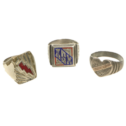 Original U.S. WWII Souvenir Ring Set - NSM Peru 1943, Philippines 1945 & Lightning Bolt Insignia Original Items