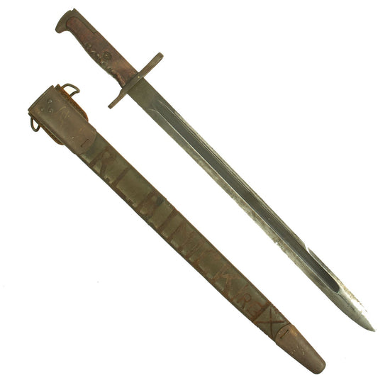 "Original U.S. WWI M1905 Springfield 16"" Rifle Bayonet with Personalized Maxim Patent Scabbard - dated 1918 Original Items"