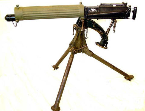 Original WWI British Vickers Medium Machine Display Gun with Fluted Water Jacket
