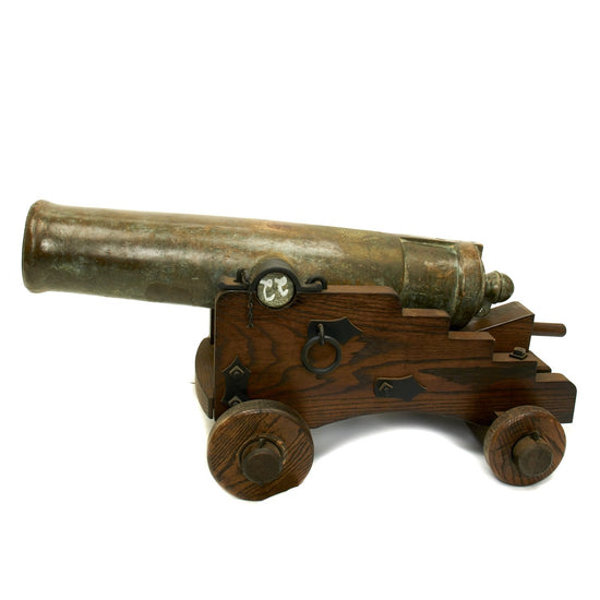 Original Imperial Russian 18th Century 12-Pounder Demi Culverin Bronze Cannon with Oak Naval Carriage