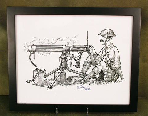 Limited Edition Military Illustrations Signed by Artist: Kilted British WWI Tommy with Vickers Gun