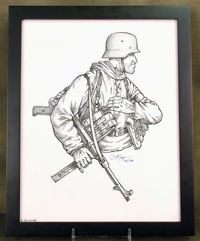 Limited Edition Military Illustrations Signed by Artist: German WWII MP 40 Wehrmacht Soldier