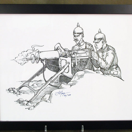 Limited Edition Military Illustrations Signed by Artist: German WWI MG-08 with Sled Mount & Trench Armor