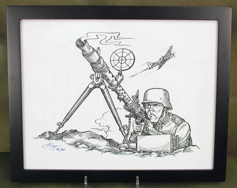 Limited Edition Military Illustrations Signed by Artist: German WWII MG 34 Anti-Aircraft