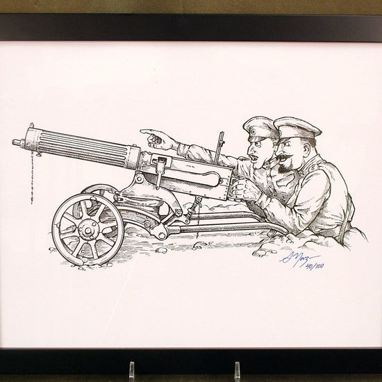 Limited Edition Military Illustrations Signed by Artist: Imperial Russian 1910 Maxim Gun with Sokolov Mount Original Items
