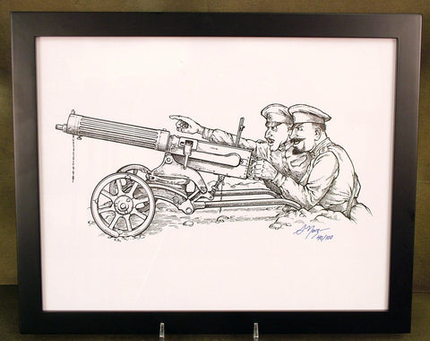 Limited Edition Military Illustrations Signed by Artist: Imperial Russian 1910 Maxim Gun with Sokolov Mount