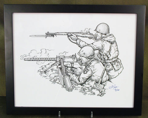 Limited Edition Military Illustrations Signed by Artist: U.S. WWII 1919A4 Browning with M1 Garand Rifle
