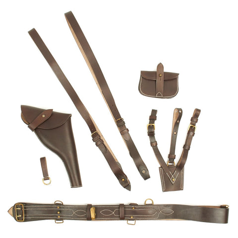 British WWI Officer Leather Sam Browne Equipment Complete Set - GRADE 2