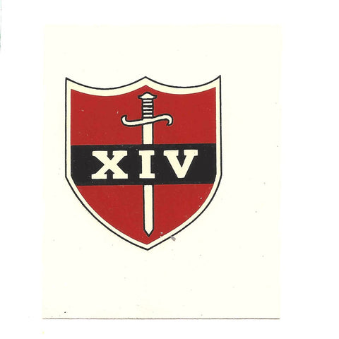 British WWII Unit Helmet Decal: 14th Army