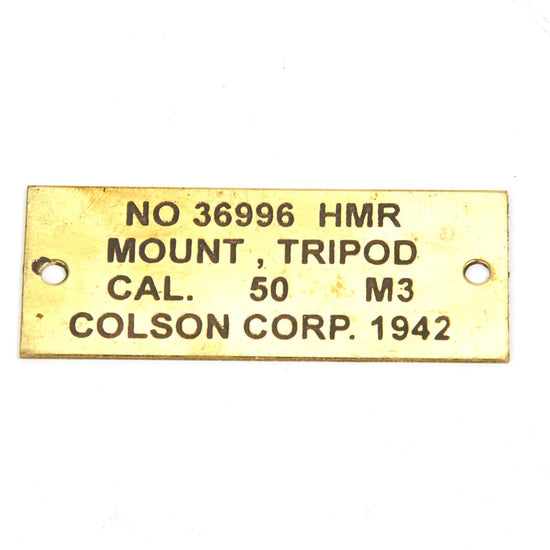 U.S. Browning M3 Tripod .50 Cal Brass Data Plate
