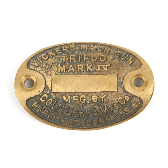 British WWII Vickers MMG Tripod Brass Data Plate