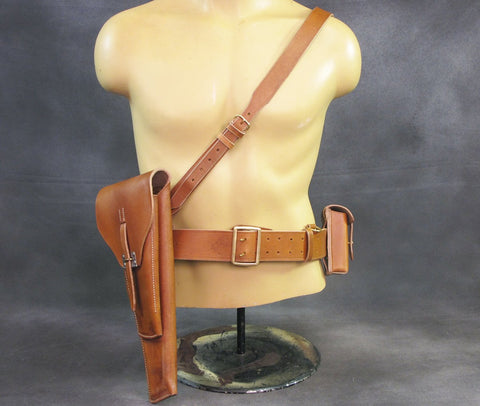 Belgian Pre-WWII Browning High-Power Stock Rig & Leather Harness Set