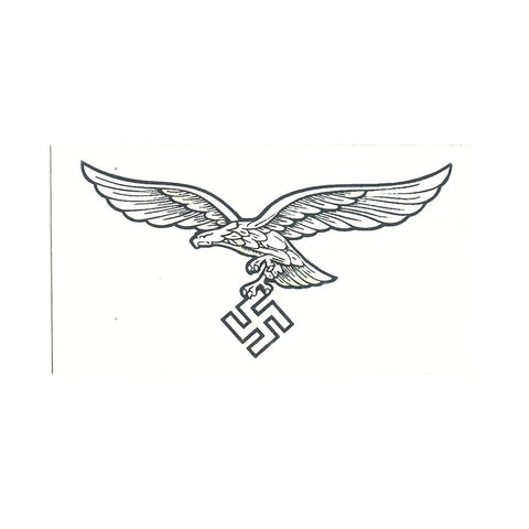 German WWII Steel Helmet Decal- White Luftwaffe Eagle